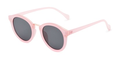 Angle of Tide #7091 in Glossy Pink/Gold Frame with Grey Lenses, Women's Round Sunglasses