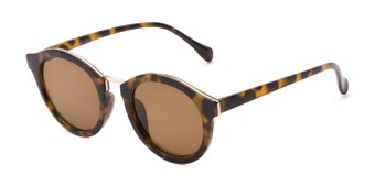 Angle of Tide #7091 in Glossy Tortoise/Gold Frame with Amber Lenses, Women's Round Sunglasses