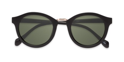 Folded of Tide #7091 in Matte Black/Gold Frame with Green Lenses