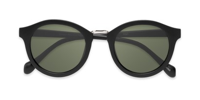 Folded of Tide #7091 in Matte Black/Silver Frame with Green Lenses