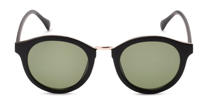 Front of Tide #7091 in Matte Black/Gold Frame with Green Lenses