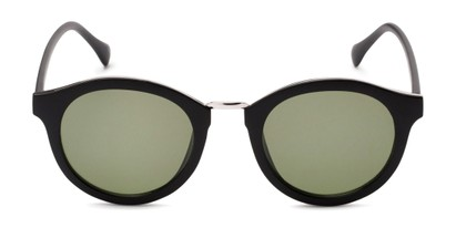 Front of Tide #7091 in Matte Black/Silver Frame with Green Lenses