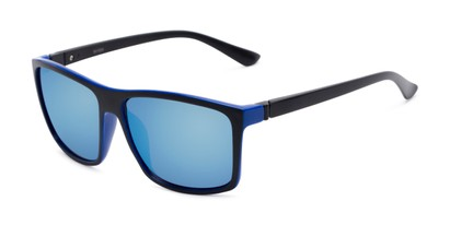 Angle of Travis #54109 in Black/Blue Frame with Blue Mirrored Lenses, Women's and Men's Square Sunglasses