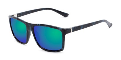 Angle of Travis #54109 in Black/Blue Camo Frame with Green/Purple Mirrored Lenses, Women's and Men's Square Sunglasses