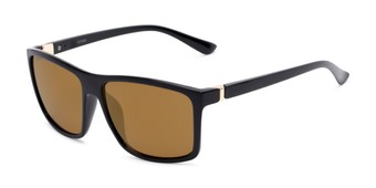 Angle of Travis #54109 in Black Frame with Gold Mirrored Lenses, Women's and Men's Square Sunglasses