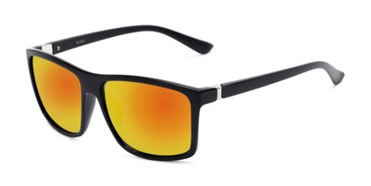 Angle of Travis #54109 in Black Frame with Orange Mirrored Lenses, Women's and Men's Square Sunglasses