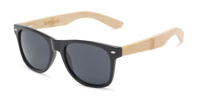 068046a72e Angle of Treeline  1421 in Glossy Black Bamboo Frame with Smoke Lenses