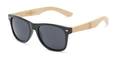 Angle of Treeline #1421 in Glossy Black/Bamboo Frame with Smoke Lenses, Women's and Men's Retro Square Sunglasses