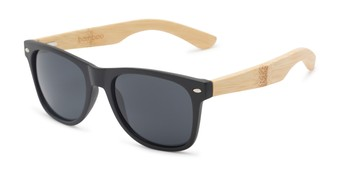 Angle of Treeline #1421 in Matte Black/Bamboo Frame with Smoke Lenses, Women's and Men's Retro Square Sunglasses