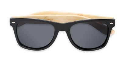Folded of Treeline #1421 in Glossy Black/Bamboo Frame with Smoke Lenses