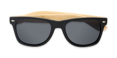 Folded of Treeline #1421 in Matte Black/Bamboo Frame with Smoke Lenses