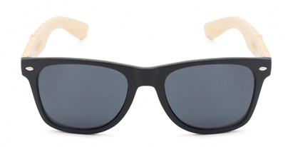 Front of Treeline #1421 in Matte Black/Bamboo Frame with Smoke Lenses