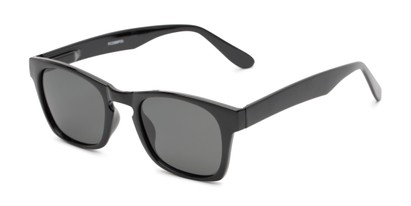 Angle of Trent #3389 in Black Frame with Grey Lenses, Women's and Men's Retro Square Sunglasses