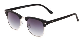 Angle of Tuck #6445 in Black/Silver Frame with Smoke Lenses, Women's and Men's Browline Sunglasses