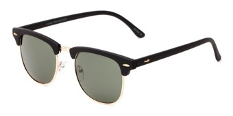 Angle of Tuck #6445 in Black/Gold Frame with Green Lenses, Women's and Men's Browline Sunglasses