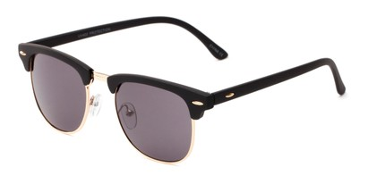 Angle of Tuck #6445 in Black/Gold Frame with Grey Lenses, Women's and Men's Browline Sunglasses