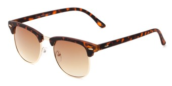Angle of Tuck #6445 in Tortoise/Gold Frame with Amber Lenses, Women's and Men's Browline Sunglasses