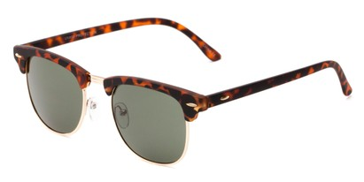 Angle of Tuck #6445 in Tortoise/Gold Frame with Green Lenses, Women's and Men's Browline Sunglasses