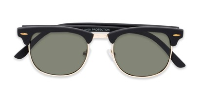 Folded of Tuck #6445 in Black/Gold Frame with Green Lenses