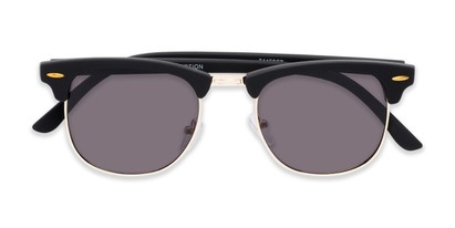 Folded of Tuck #6445 in Black/Gold Frame with Grey Lenses