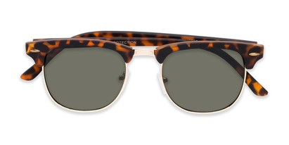 Folded of Tuck #6445 in Tortoise/Gold Frame with Green Lenses