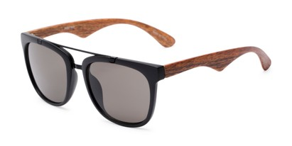 Angle of Tucker #54081 in Black/Brown Frame with Grey Lenses, Women's and Men's Retro Square Sunglasses