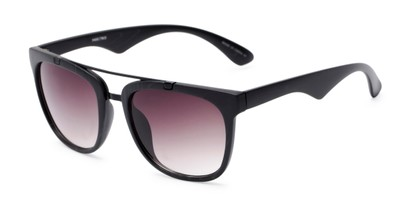 Angle of Tucker #54081 in Black Frame with Smoke Lenses, Women's and Men's Retro Square Sunglasses