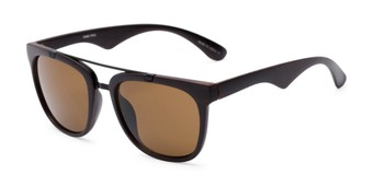 Angle of Tucker #54081 in Dark Brown Frame with Amber Lenses, Women's and Men's Retro Square Sunglasses