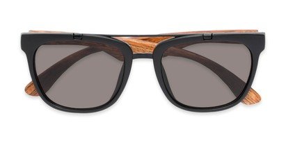 Folded of Tucker #54081 in Black/Brown Frame with Grey Lenses