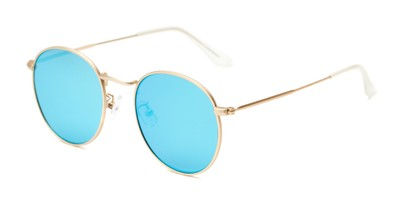 Angle of Tyler #2021 in Gold Frame with Ice Blue Lenses, Women's and Men's Round Sunglasses