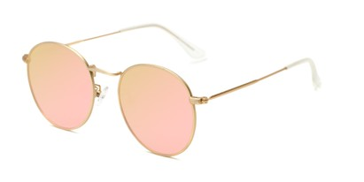 Angle of Tyler #2021 in Gold Frame with Champagne Pink Lenses, Women's and Men's Round Sunglasses