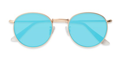 Folded of Tyler #2021 in Gold Frame with Ice Blue Lenses