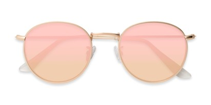 Folded of Tyler #2021 in Gold Frame with Champagne Pink Lenses