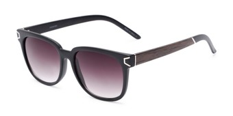 Angle of Upton #54103 in Black/Brown Frame with Smoke Lenses, Women's Retro Square Sunglasses