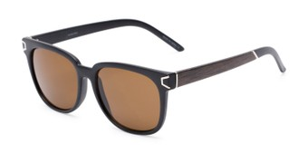 Angle of Upton #54103 in Black/Brown Frame with Amber Lenses, Women's Retro Square Sunglasses