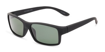 Angle of Urban #1110 in Black Frame with Green Lenses, Men's Square Sunglasses
