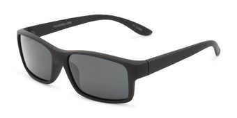 Angle of Urban #1110 in Black Frame with Smoke Lenses, Men's Square Sunglasses