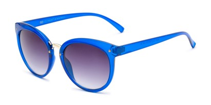 Angle of Vienna #6385 in Blue Frame with Smoke Lenses, Women's Round Sunglasses