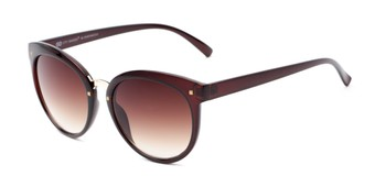 Angle of Vienna #6385 in Brown Frame with Amber Lenses, Women's Round Sunglasses