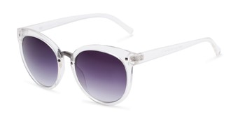 Angle of Vienna #6385 in Clear Frame with Smoke Lenses, Women's Round Sunglasses