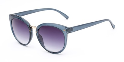 Angle of Vienna #6385 in Dark Blue Frame with Smoke Lenses, Women's Round Sunglasses