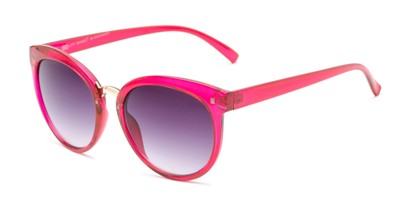 Angle of Vienna #6385 in Pink Frame with Smoke Lenses, Women's Round Sunglasses