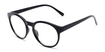 Angle of Vincent #3811 in Glossy Black Frame with Clear Lenses, Women's and Men's Round Fake Glasses