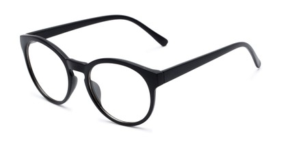 Angle of Vincent #3811 in Matte Black Frame with Clear Lenses, Women's and Men's Round Fake Glasses