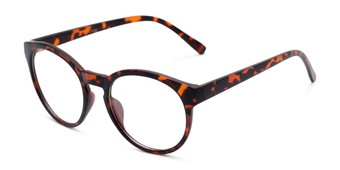 Angle of Vincent #3811 in Matte Tortoise Frame with Clear Lenses, Women's and Men's Round Fake Glasses