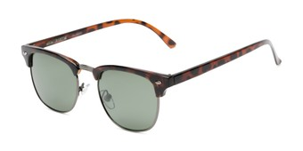 Angle of Warren by Foster Grant in Tortoise/Grey Frame with Green Lenses, Men's Browline Sunglasses