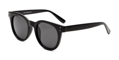 Angle of Waterloo #71271 in Black Frame with Smoke Lenses, Women's and Men's Round Sunglasses