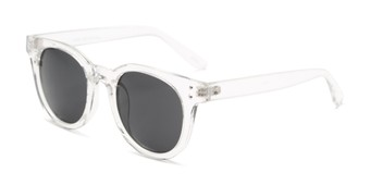 Angle of Waterloo #71271 in Clear Frame with Smoke Lenses, Women's and Men's Round Sunglasses