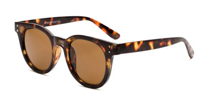 Angle of Waterloo #71271 in Tortoise Frame with Amber Lenses, Women's and Men's Round Sunglasses