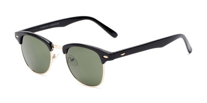 Angle of Whistler #324 in Black/Gold Frame with Green Lenses, Women's and Men's Browline Sunglasses